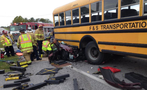Crash_CarRearEndsSchoolBus_BerwickTownship_Pennsylvania_092115